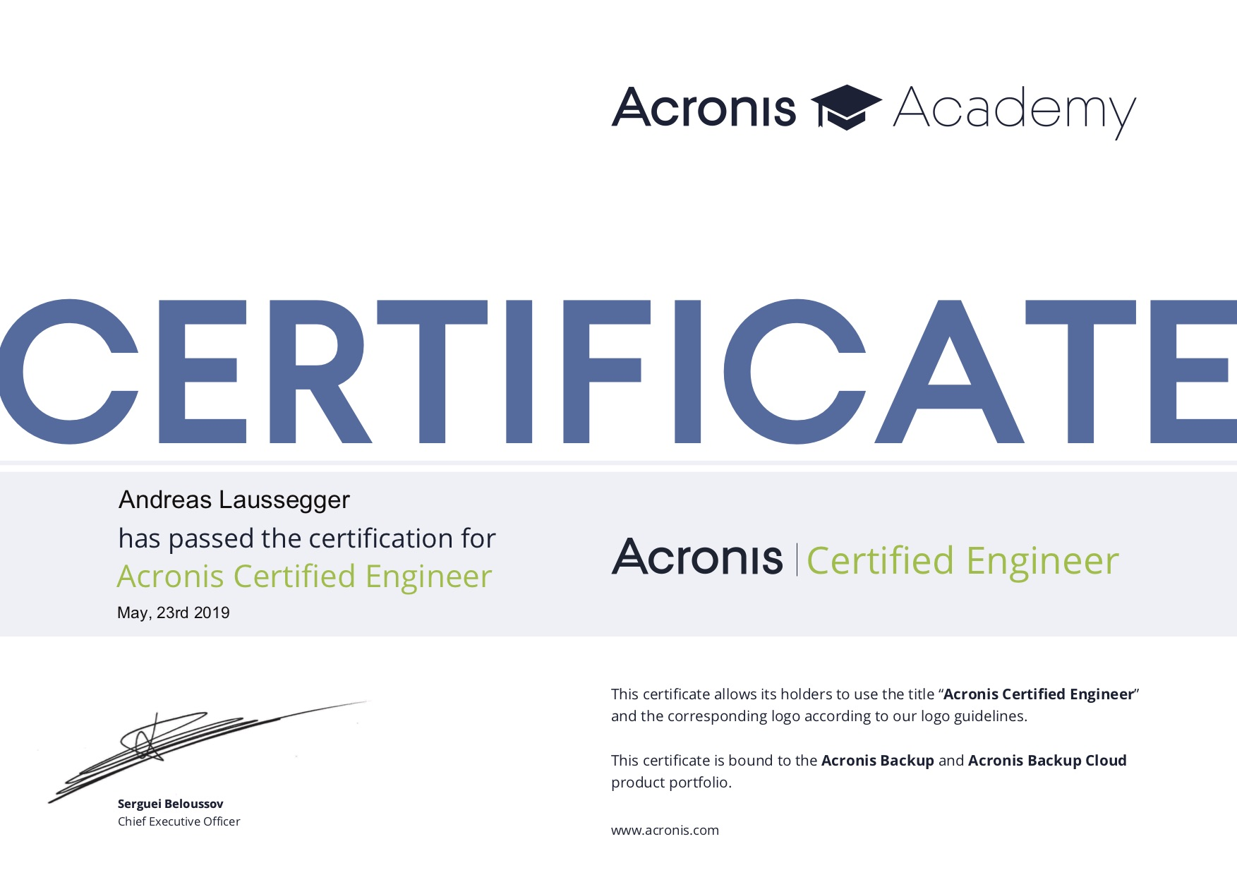 ACE Zertifizierung
